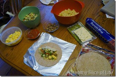 make ahead breakfast burritos- prep