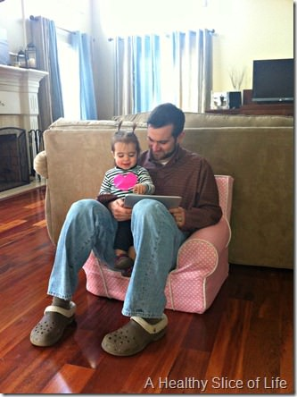 17 months- sitting with dad