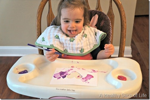 toddler valentine art- having fun