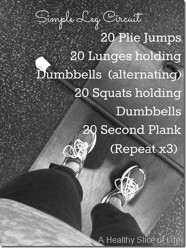 week of workouts- simple leg circuit