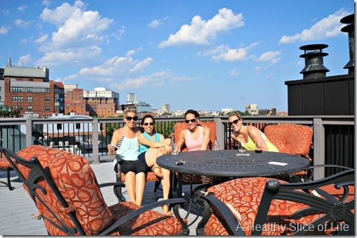boston girls weekend- day 1- roof deck happy hour
