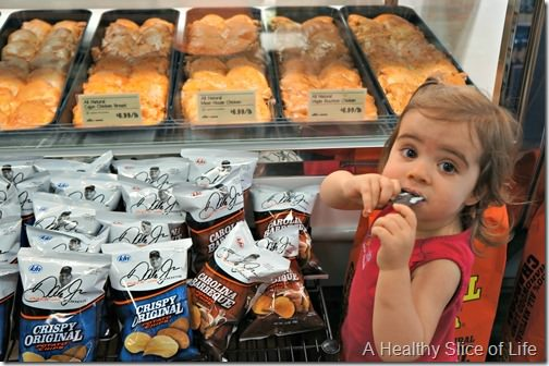 grocery shopping with a toddler- taking advantage of samples
