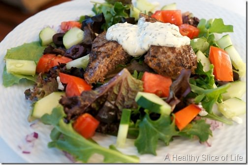 gyro burgers- salad