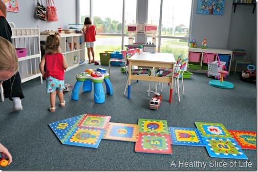 return to hot yoga- charlotte family yoga child care room