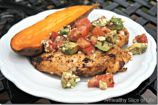 grilled chicken with avocado feta salsa