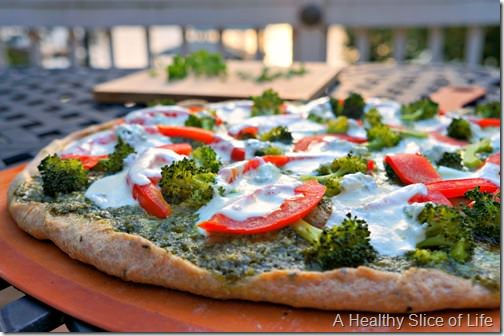 homemade pesto pizza- final product