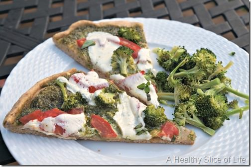homemade pesto pizza- summer dinner