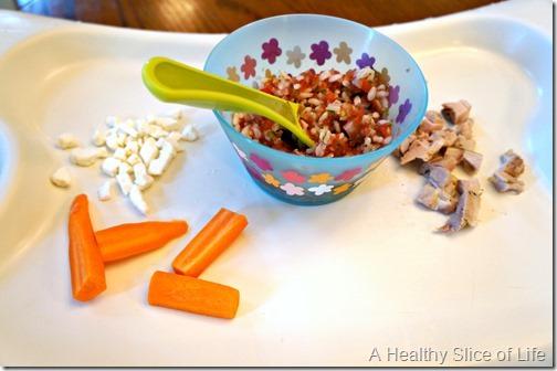 munchkin meals- odd toddler combos- rice and salsa