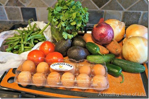 budget meal plan week 4- Josh's farmers market haul