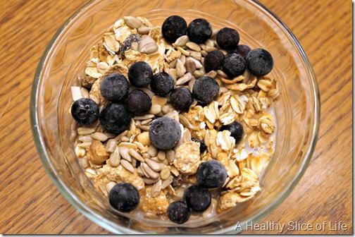 granola, blueberries and almond milk