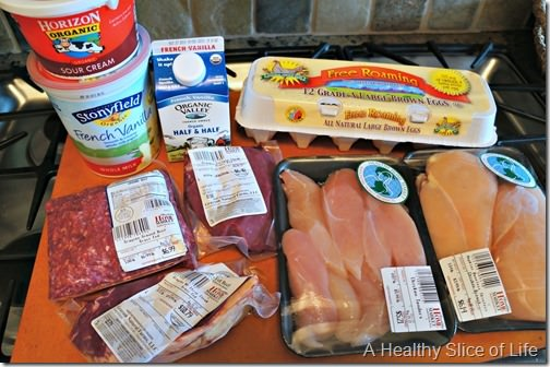 meal planning and grocery budget- Healthy Home Market meats and dairy