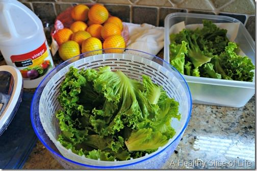 meal planning and grocery budget- washing organic greens