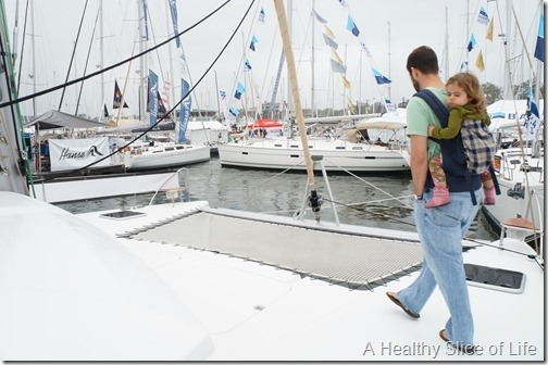 Annapolis boat show 2013- Fountaine Pajot Helia trampoline