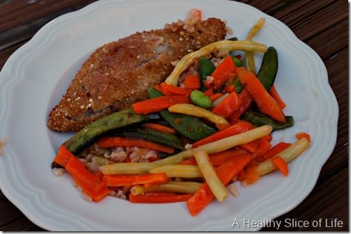 Lean cuisine honestly good- plum ginger-crusted fish plated
