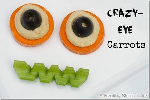 healthy kid-friendly Halloween goodies- crazy eye carrots