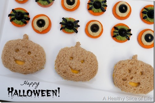 healthy kid-friendly Halloween goodies- party plate 1