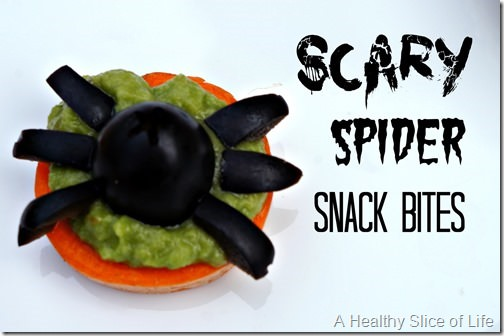 healthy kid-friendly Halloween goodies- scary spider snack bites