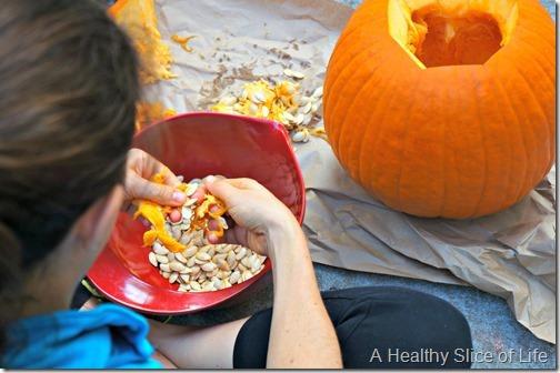 pumpkin pie spiced seeds- pumpkin guts