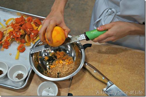 Chef Alyssa's Kitchen Cooking Class Atherton Mill- zesting the orange