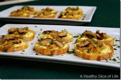 harris teeter season eatings - caramelized onions and mushroom goat cheese crostini- 2