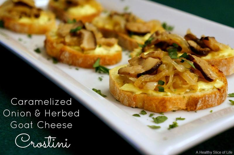 Caramelized Onion & Goat Cheese Crostini {Recipe & Giveaway}