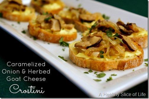 harris teeter season eatings - caramelized onions and mushroom goat cheese crostini- close up