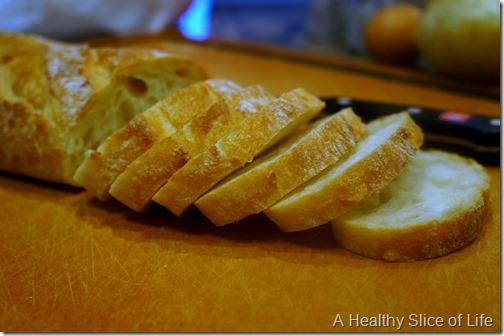 harris teeter season eatings - caramelized onions and mushroom goat cheese crostini- french loaf