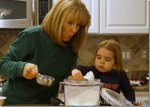 oatmeal scones- toddler helping