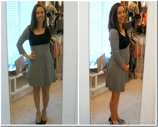 stitch fix maternity fashion- black and white sweater dress