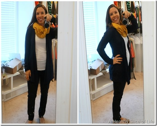 stitch fix maternity fashion- blue cardigan