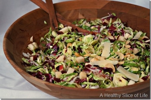 Christmas prep- shaved brussels sprouts salad- close up