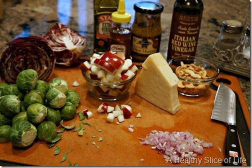 Christmas prep- shaved brussels sprouts salad- ingredients