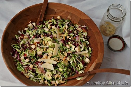 Christmas prep- shaved brussels sprouts salad- with dressing