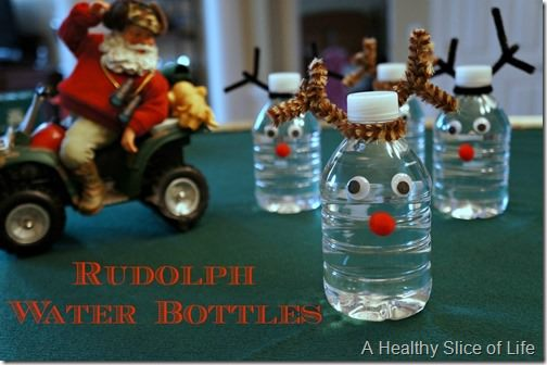 healthy christmas snacks for kids- Rudolph water bottles 1