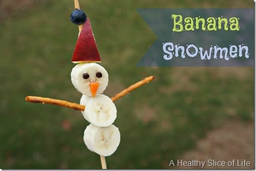 healthy christmas snacks for kids- banana snowmen 1