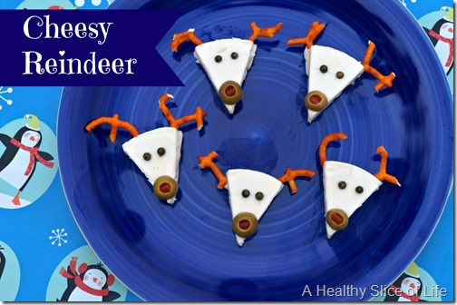 healthy christmas snacks for kids- laughing cow reindeer 1