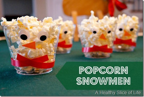 healthy christmas snacks for kids- popcorn snowmen 1