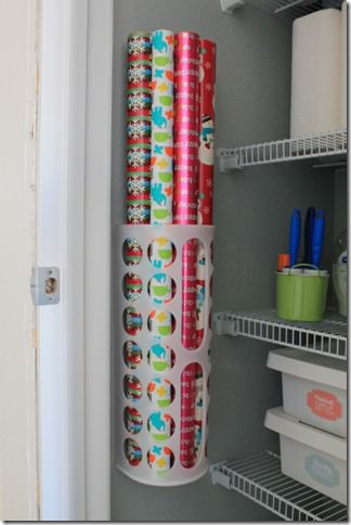 Utility closet wrapping paper storage