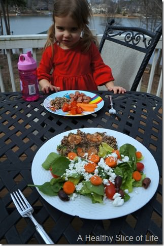 day in the life with a two year old- lunch outside