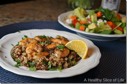 garlic lemon butter shrimp and quinoa