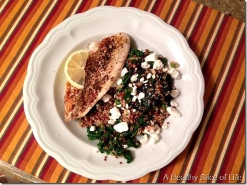 tilapia with kale and quinoa pilaf