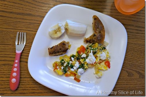toddler meal prep- veggie egg scramble and toast