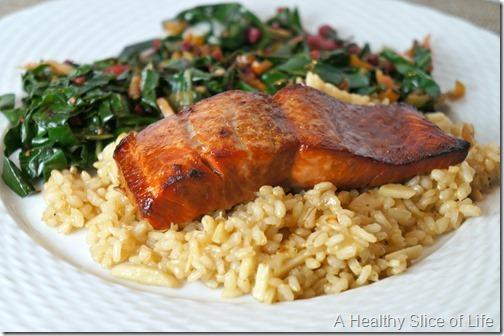 brown sugar and bourbon glazed salmon- close up