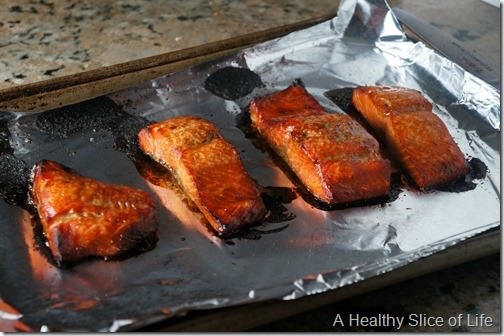 brown sugar and bourbon salmon- broiled