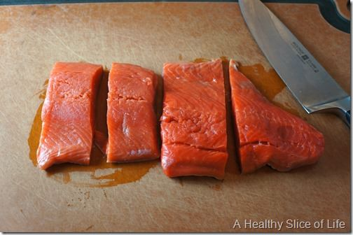 brown sugar and bourbon salmon- cut salmon into portions