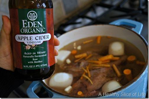homemade bone broth- apple cider vinegar