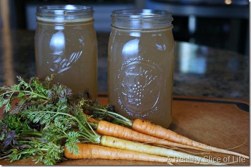 homemade bone broth- store in mason jars