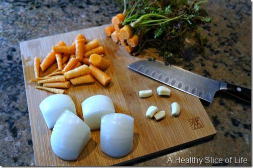 homemade bone broth- veggies