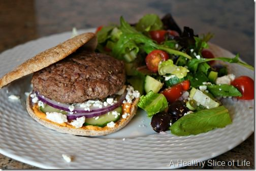 visual meal plan- gyro burgers and greek salad