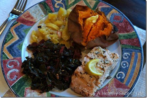 lemon garlic salmon and veggies